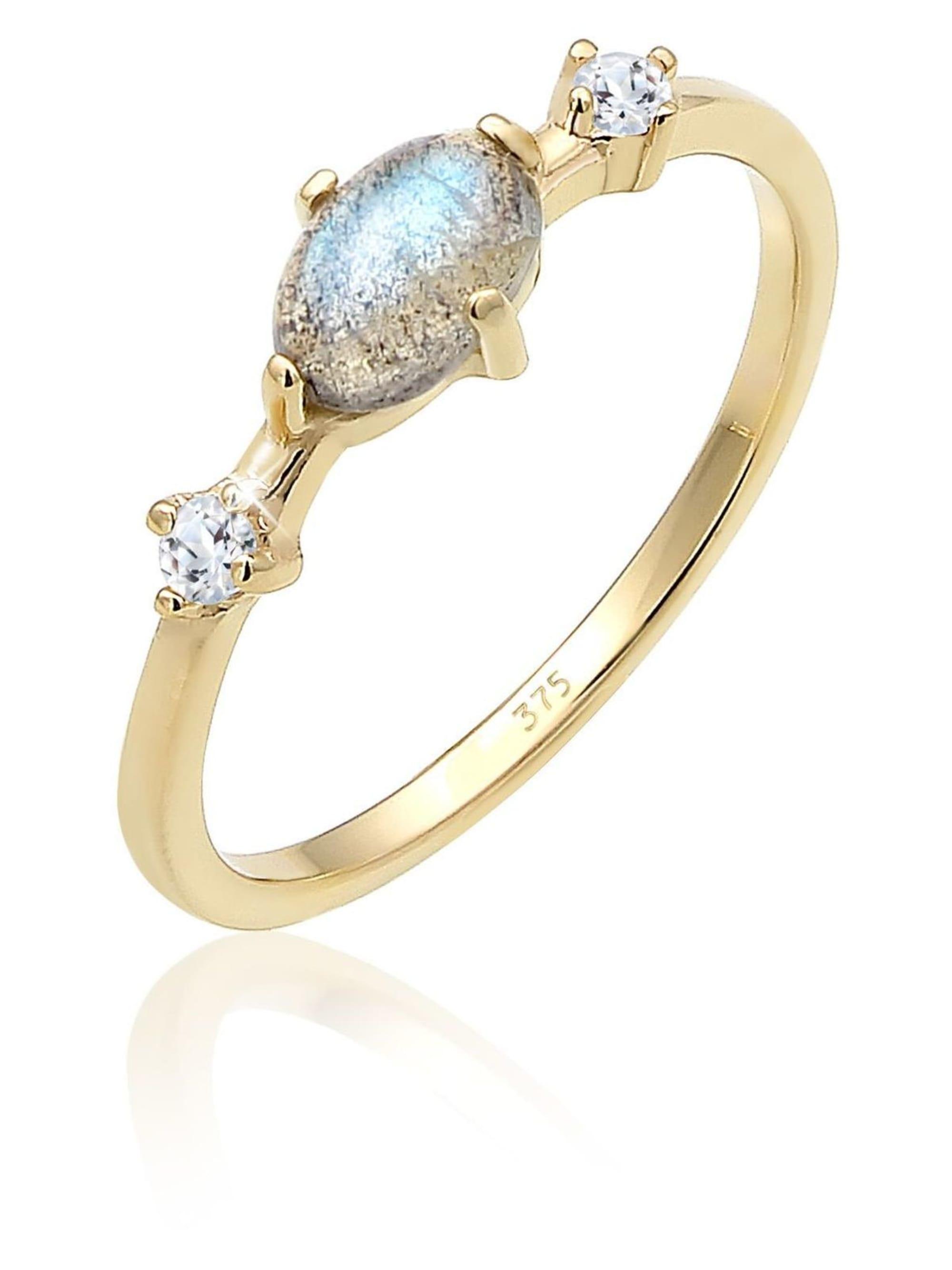 Elli Premium Elli Premium Ring Bandring Labradorit Topas Edelstein 375er Gelbgold zMnG0