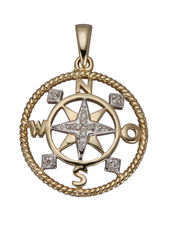 AMY VERMONT Kompass-Anhänger mit Diamanten BqdmF