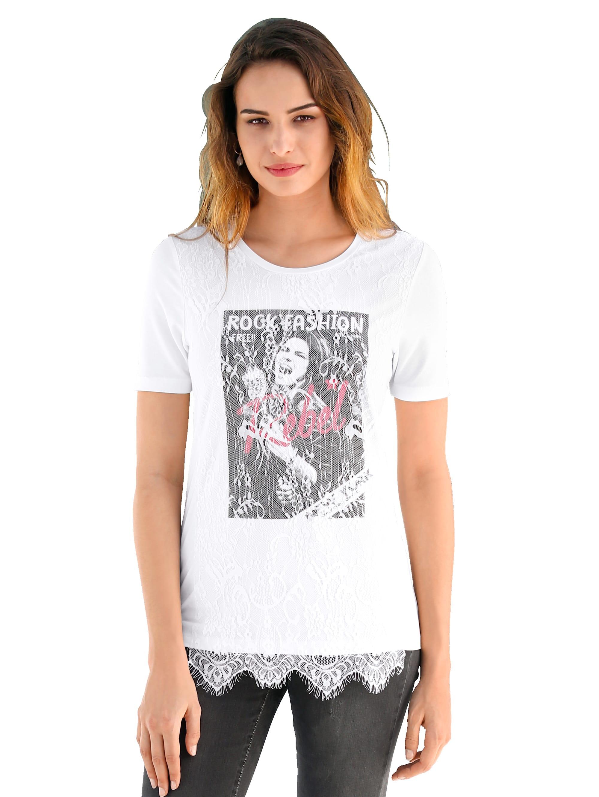 AMY VERMONT Shirt mit Motiv und Spitze im Vorderteil rqbUJ ccSoS