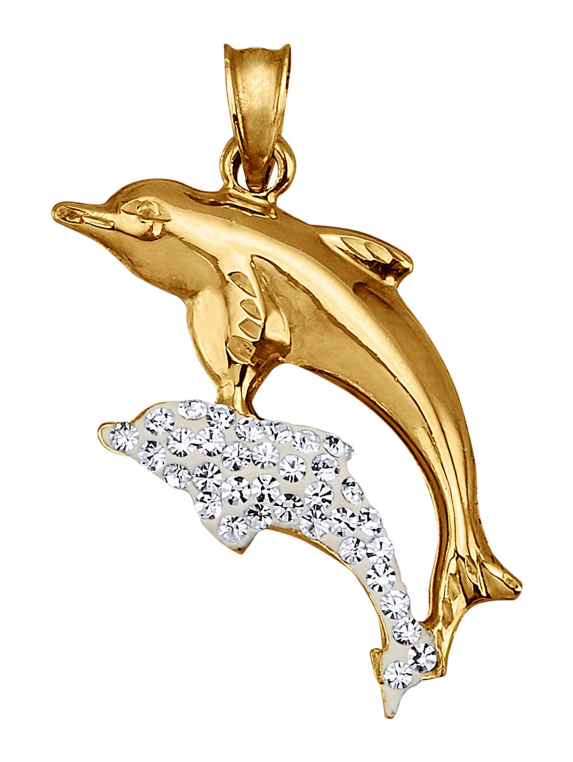 Delfin-Anhänger mit weißen Kristallen XsztE