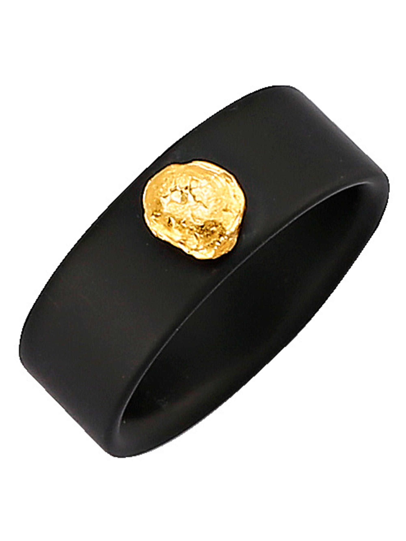 Diemer Farbstein Onyx-Ring mit Gold-Nugget HSvJG