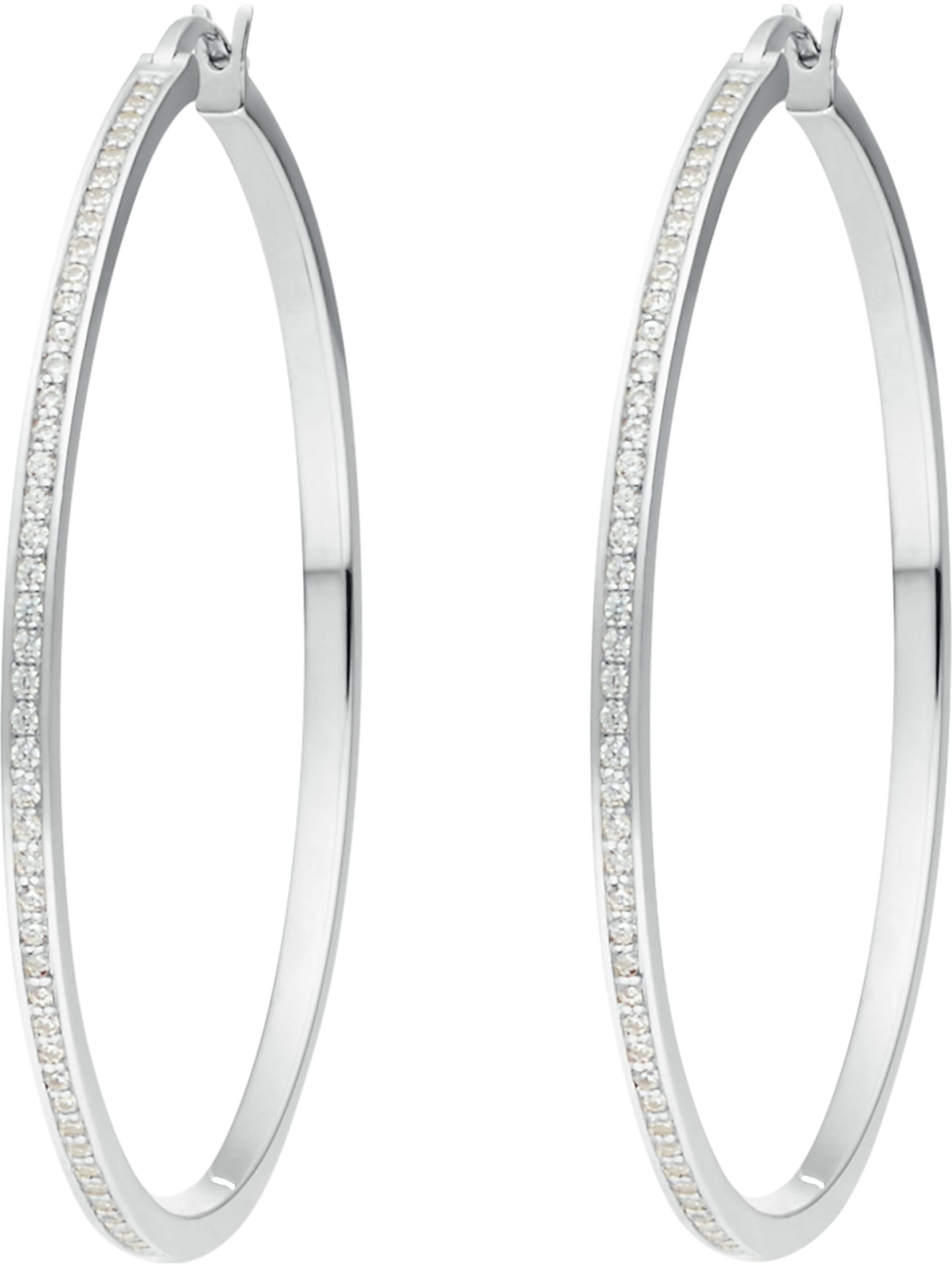 Jette JETTE Silver Damen-Creolen 925er Silber 116 Zirkonia D8bgV