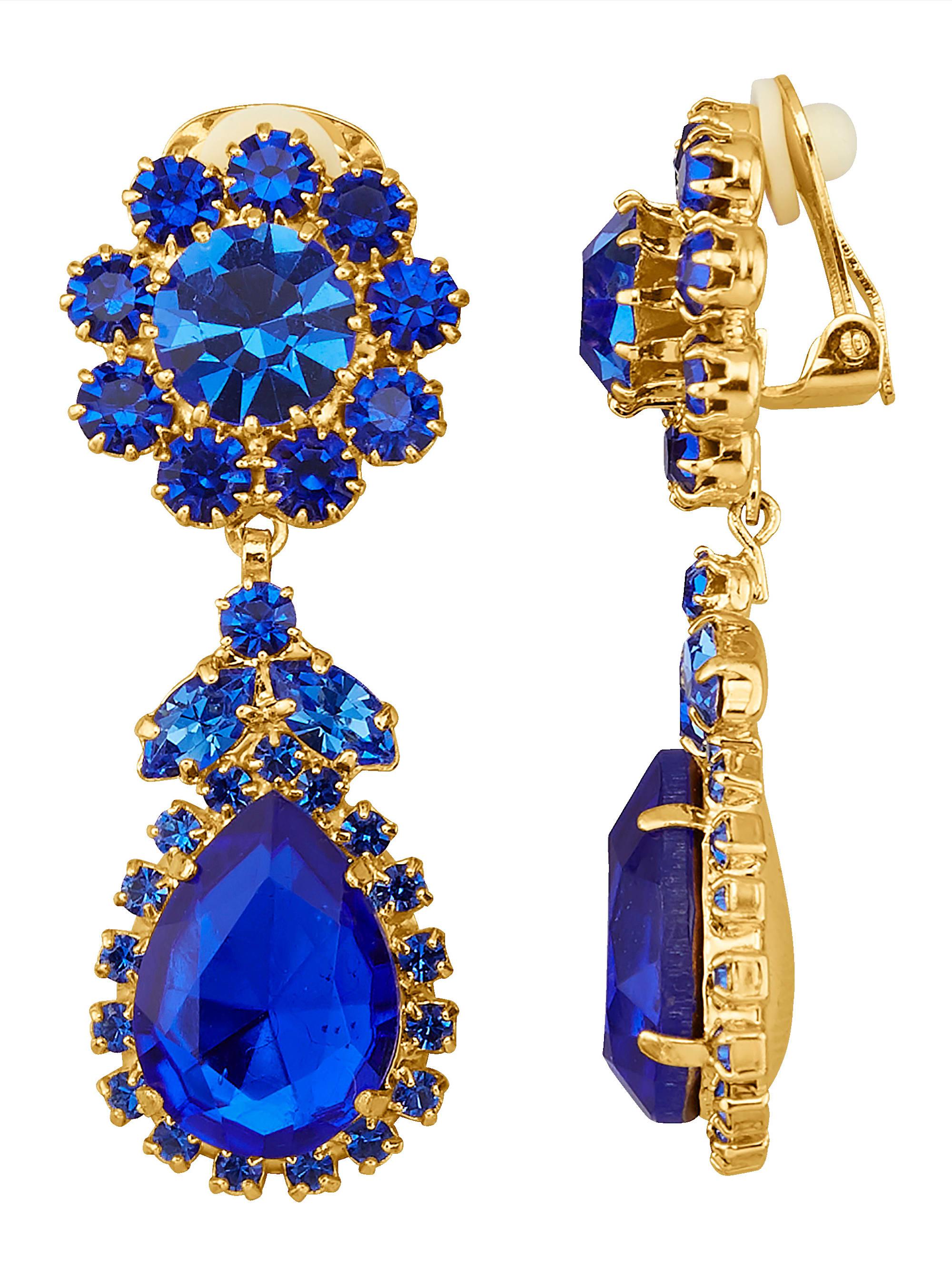 Golden Style Ohrclips mit blauen Kristallen TrGXk