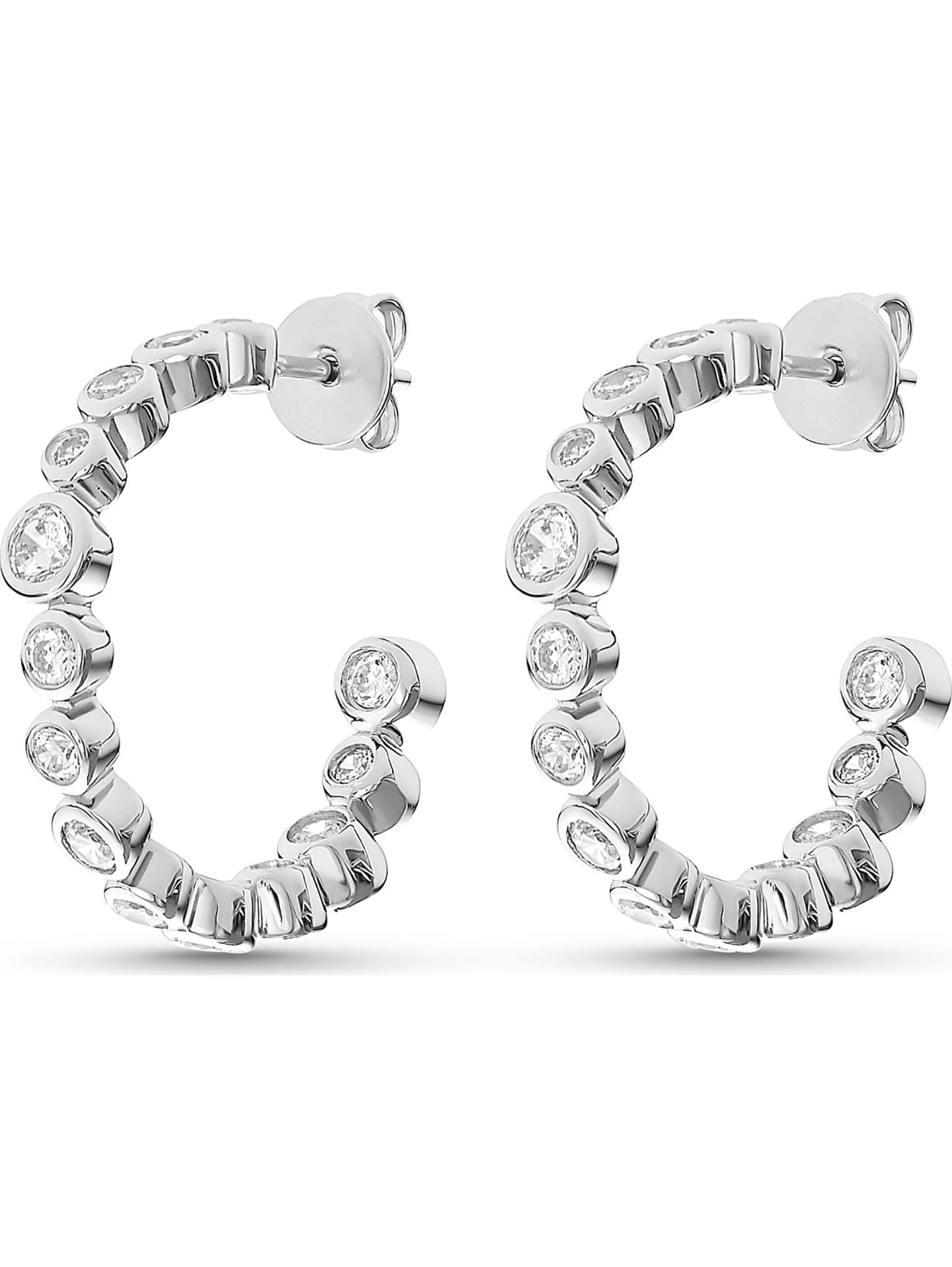 Jette JETTE Silver Damen-Creolen Glossy 925er Silber 28 Zirkonia zGYes