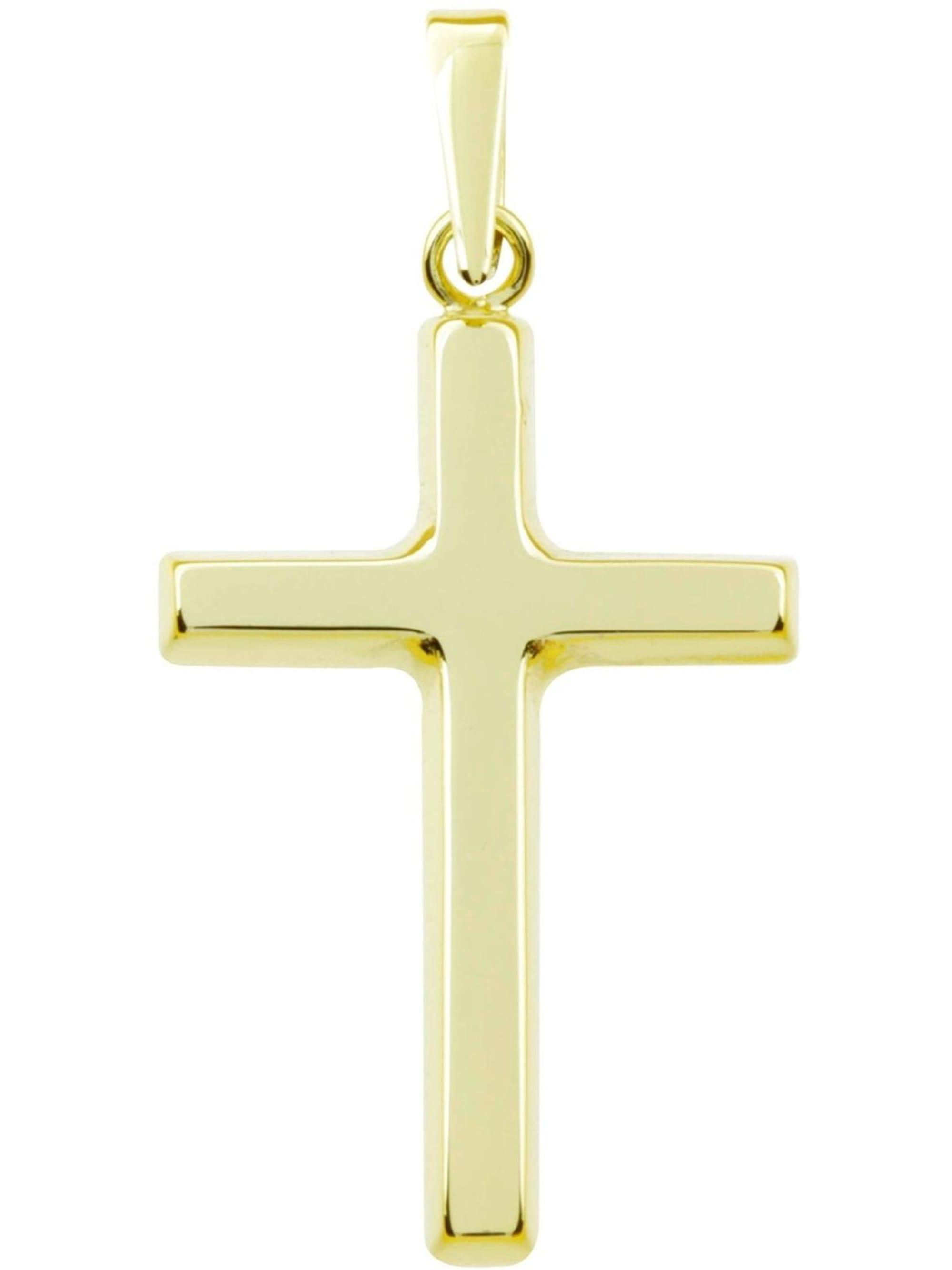 OSTSEE-SCHMUCK Anhänger Kreuz 30x15 Gold 333/000 , leE7r