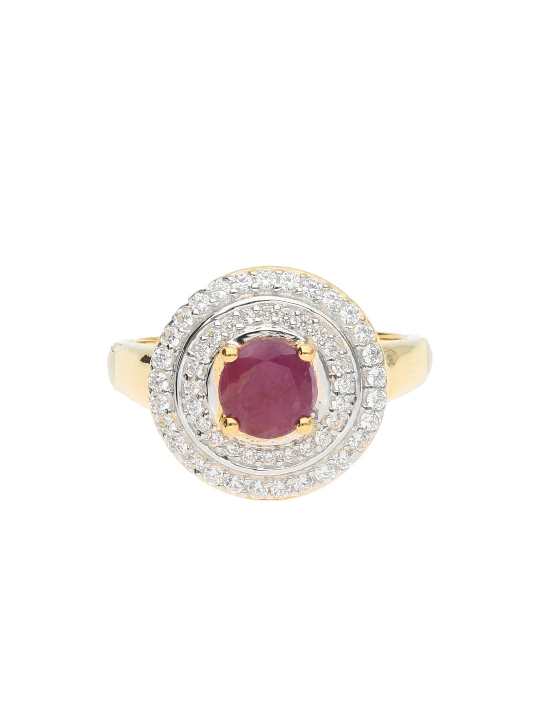 Luigi Merano Ring Rubin und Diamanten, Gold 375 IJPXJ