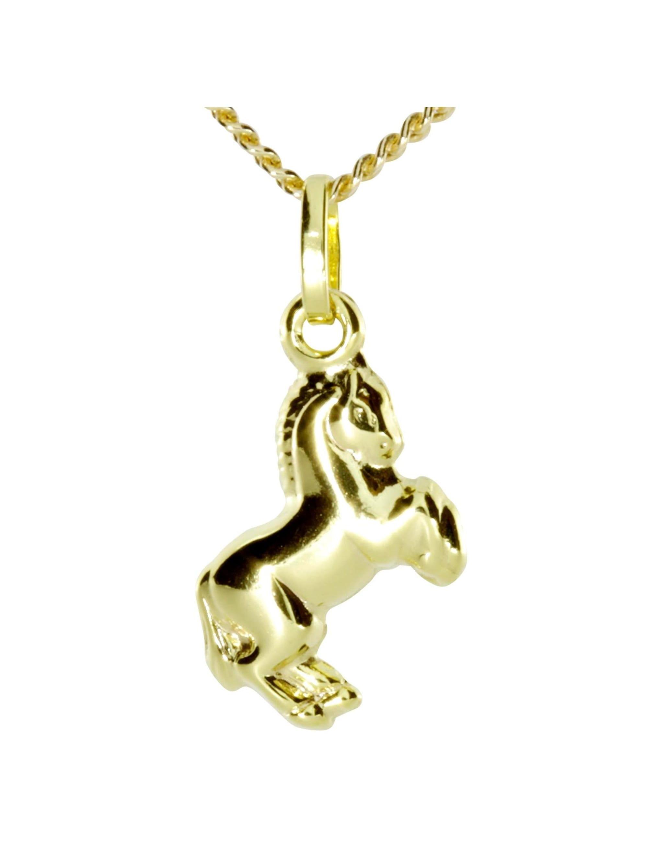 OSTSEE-SCHMUCK Kette mit Anhänger Pferd Gold 333/000 , lnDu5