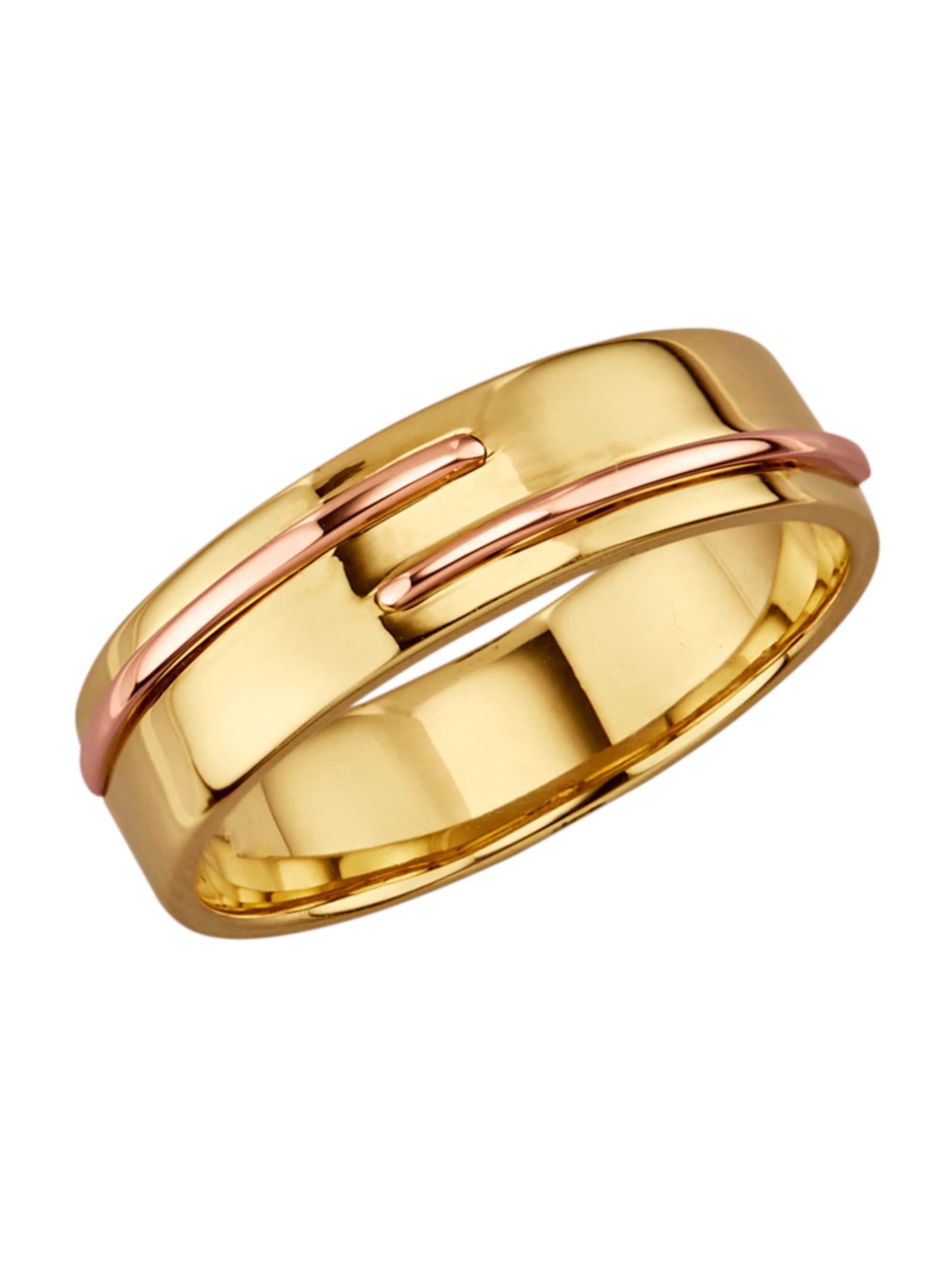 Diemer Gold Damenring in Gelb und Roségold 585 Ipuec
