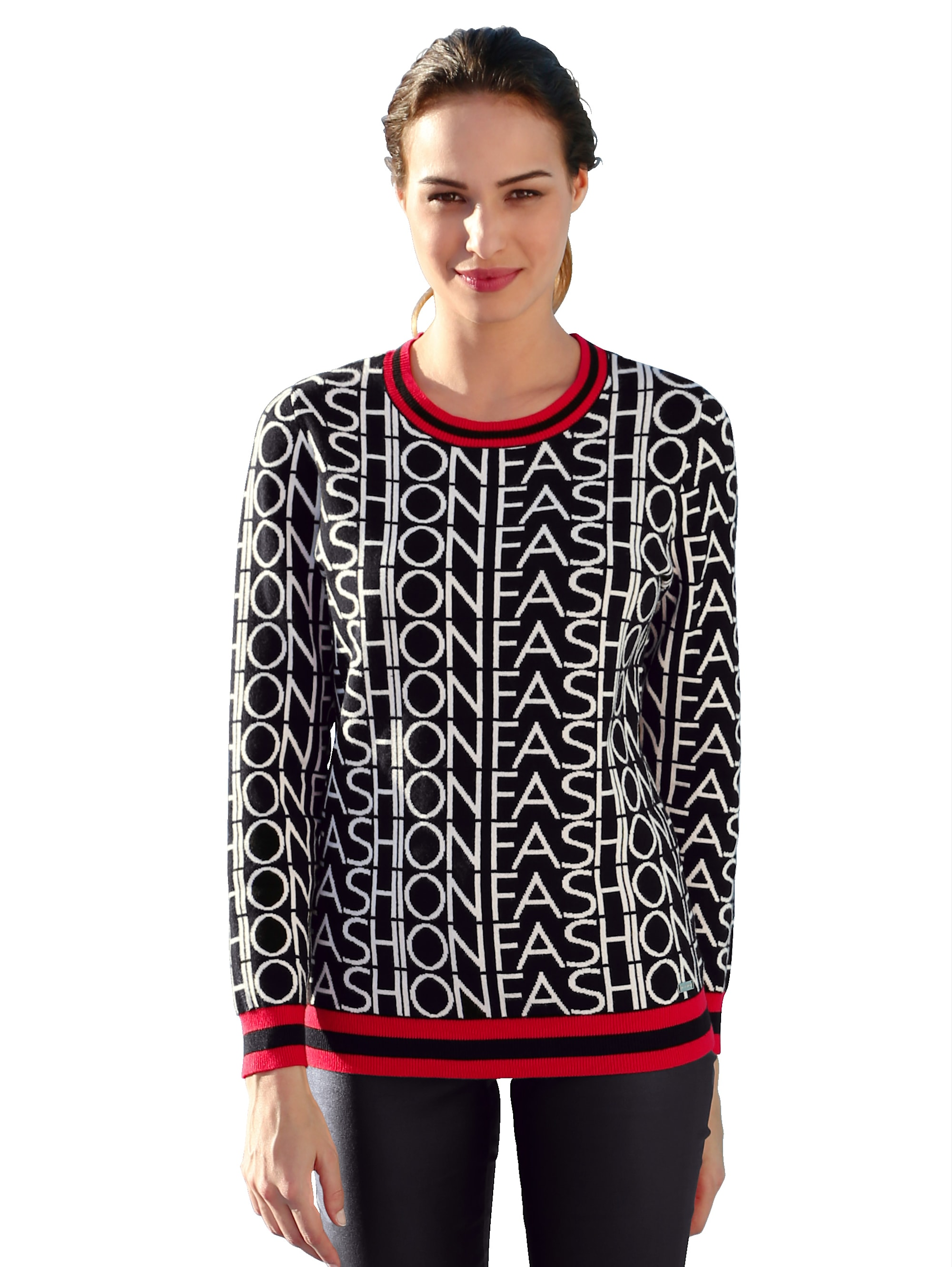 AMY VERMONT Pullover mit Wording allover wXp21 nD216