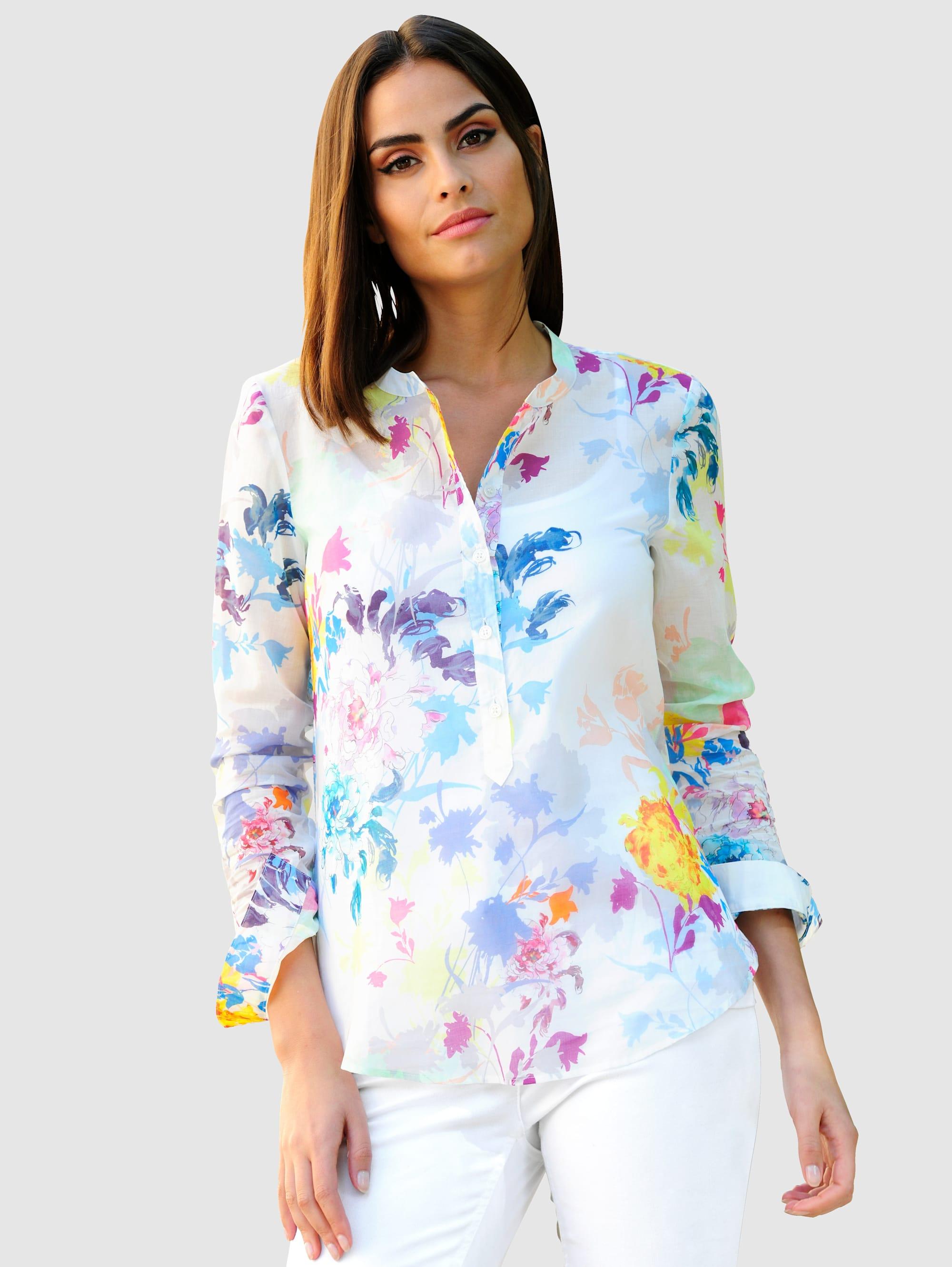 Alba Moda Bluse im farbenfrohen Blütendessin NMih8 6ePCV