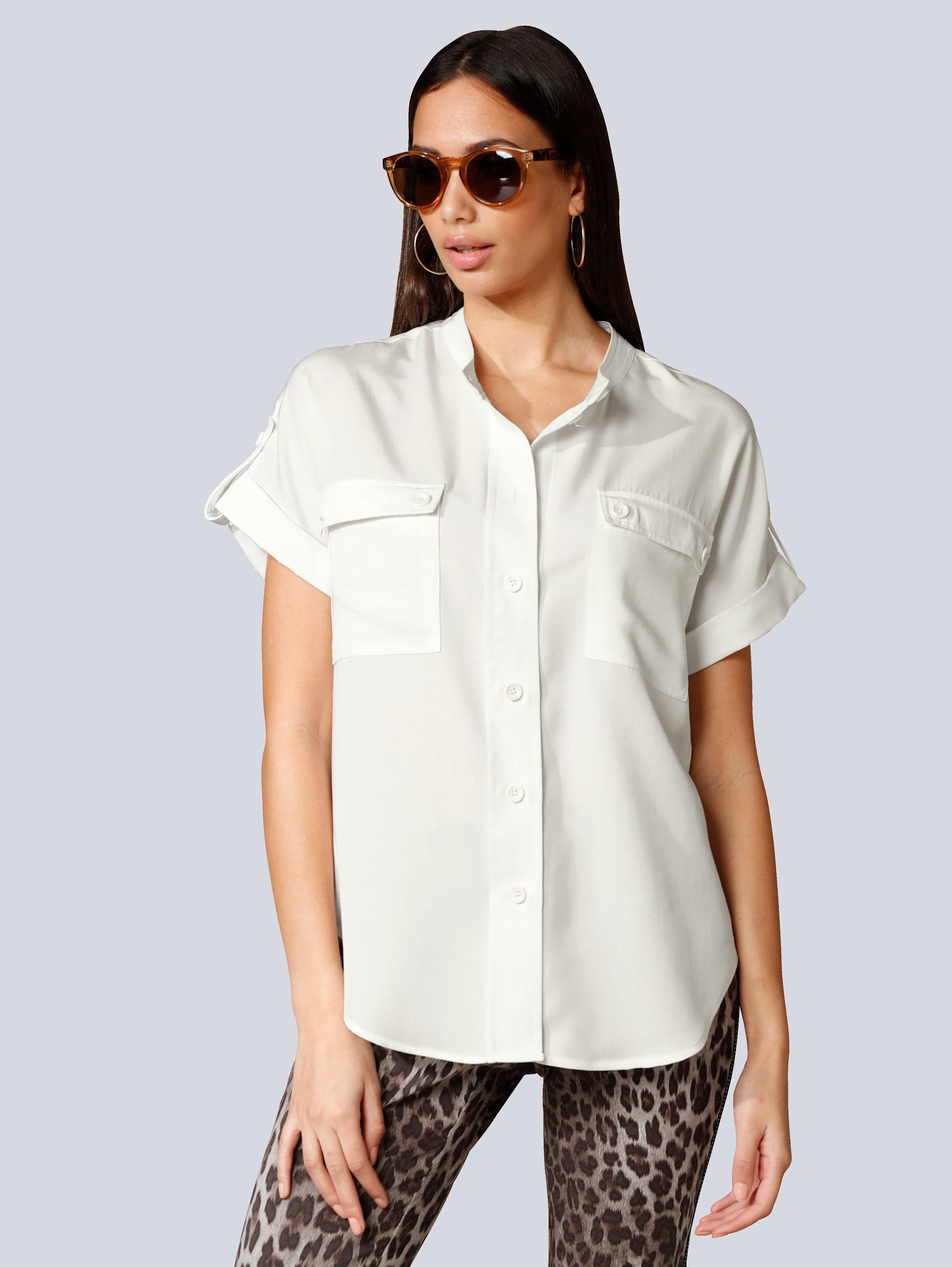 Alba Moda Bluse mit Brusttaschen sALT8 2Er3o