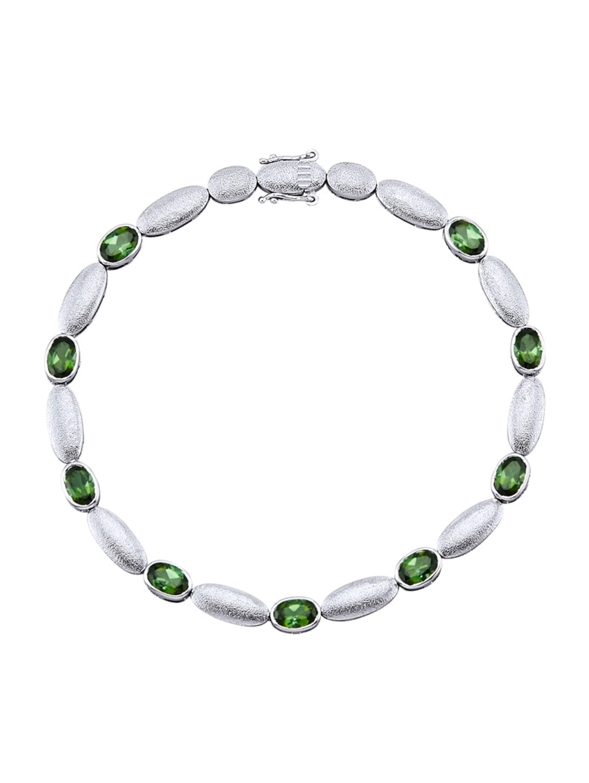 Diemer Platin Armband mit grünen Turmalinen wmTAK