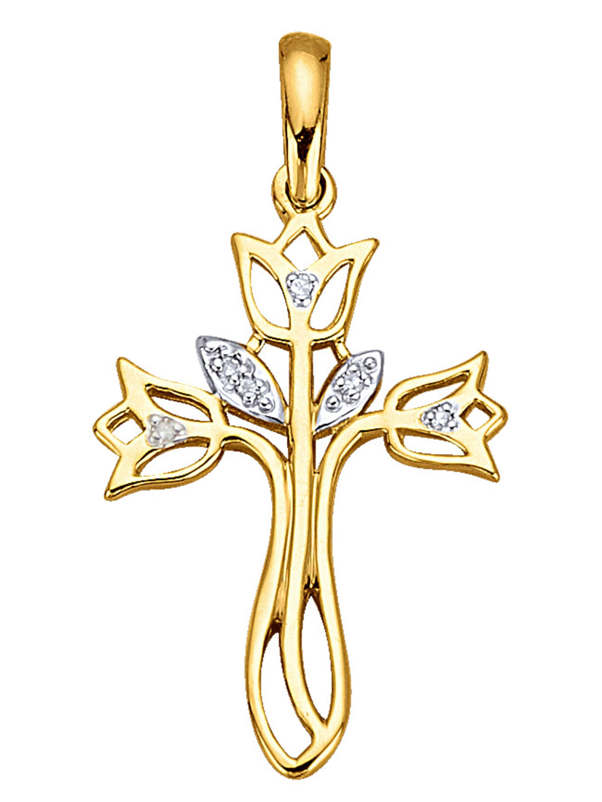 Kreuz-Anhänger mit Diamant yfI4m