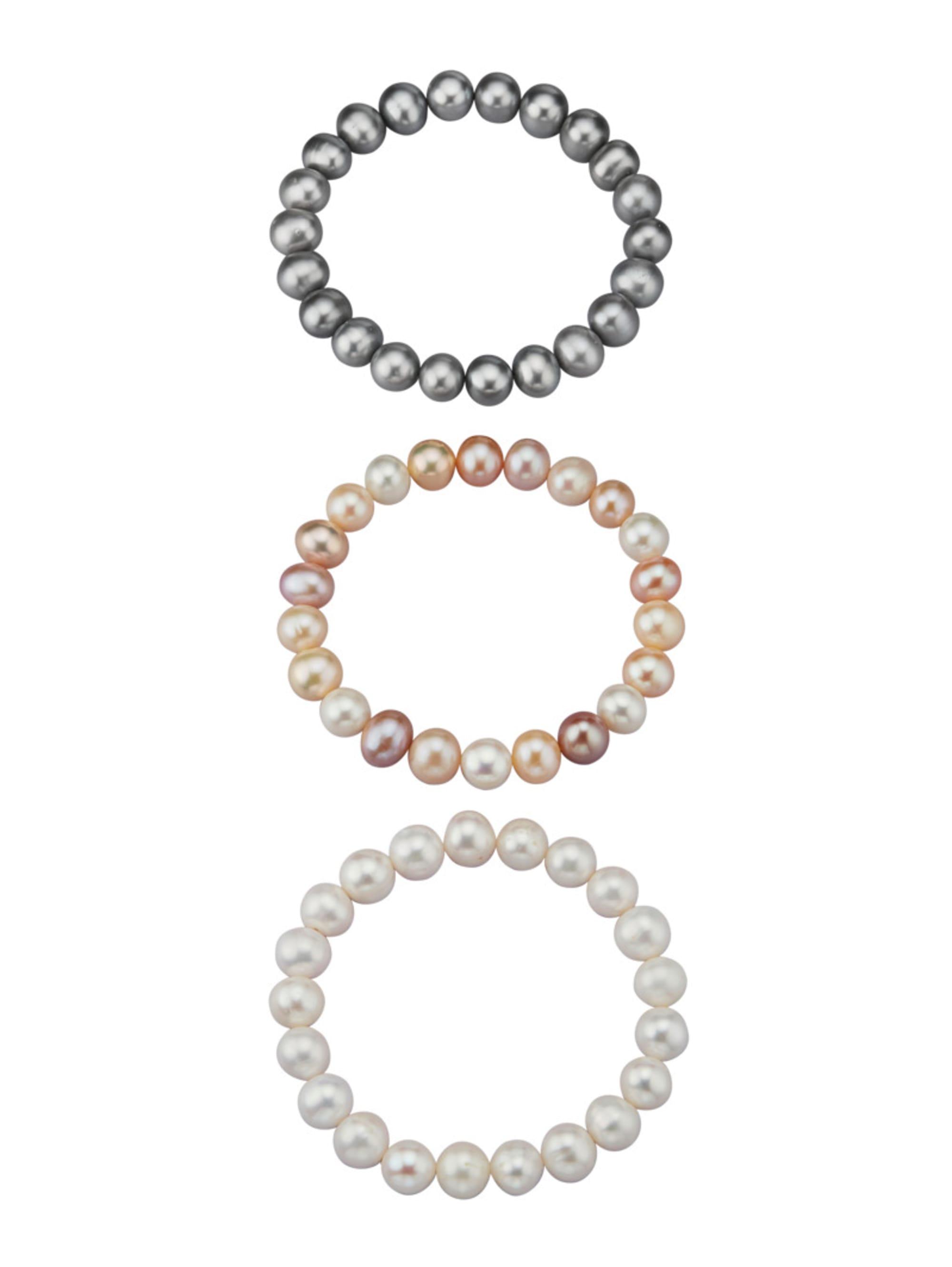 Diemer Perle 3tlg. Armband mit Süßwasser-Zuchtperlen saFdf