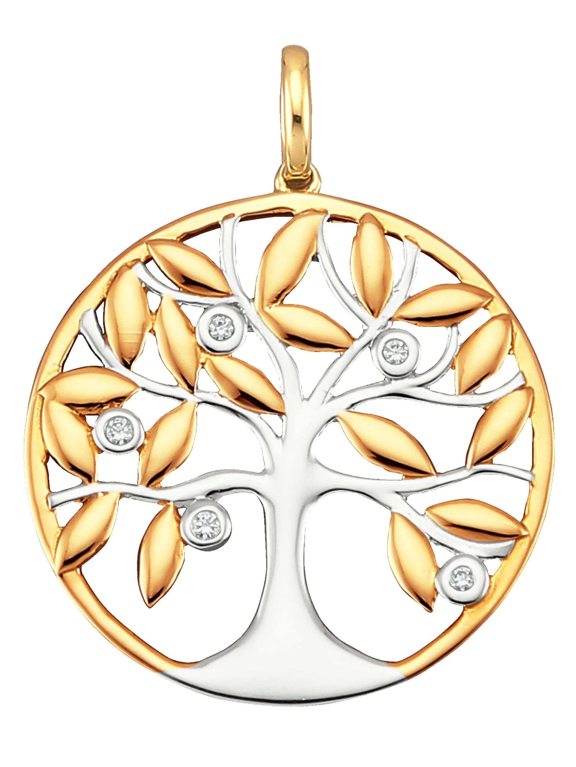 Diemer Diamant Lebensbaum-Anhänger mit Diamanten EjMS2