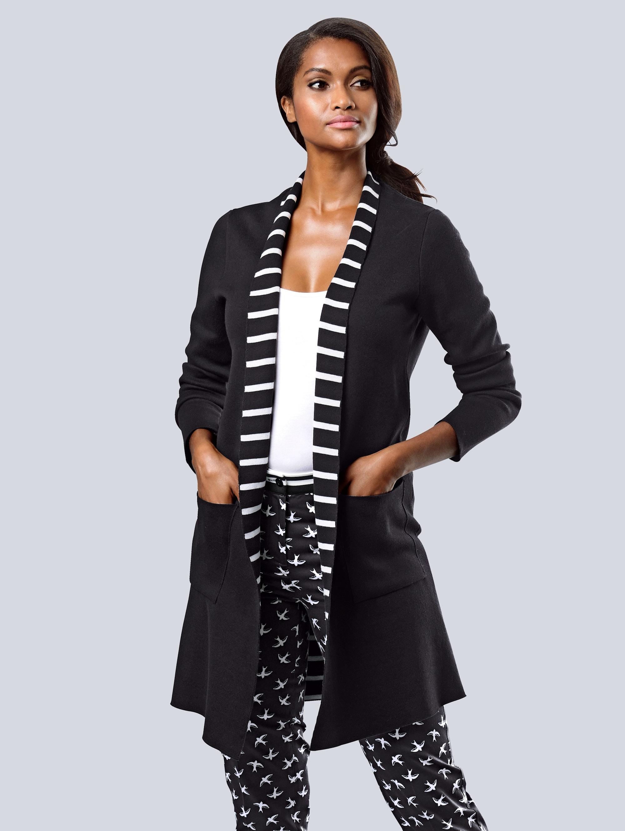 Alba Moda Strickjacke mit dekorativem Streifen-Dessin im Innenteil ISQSb VB0Yf