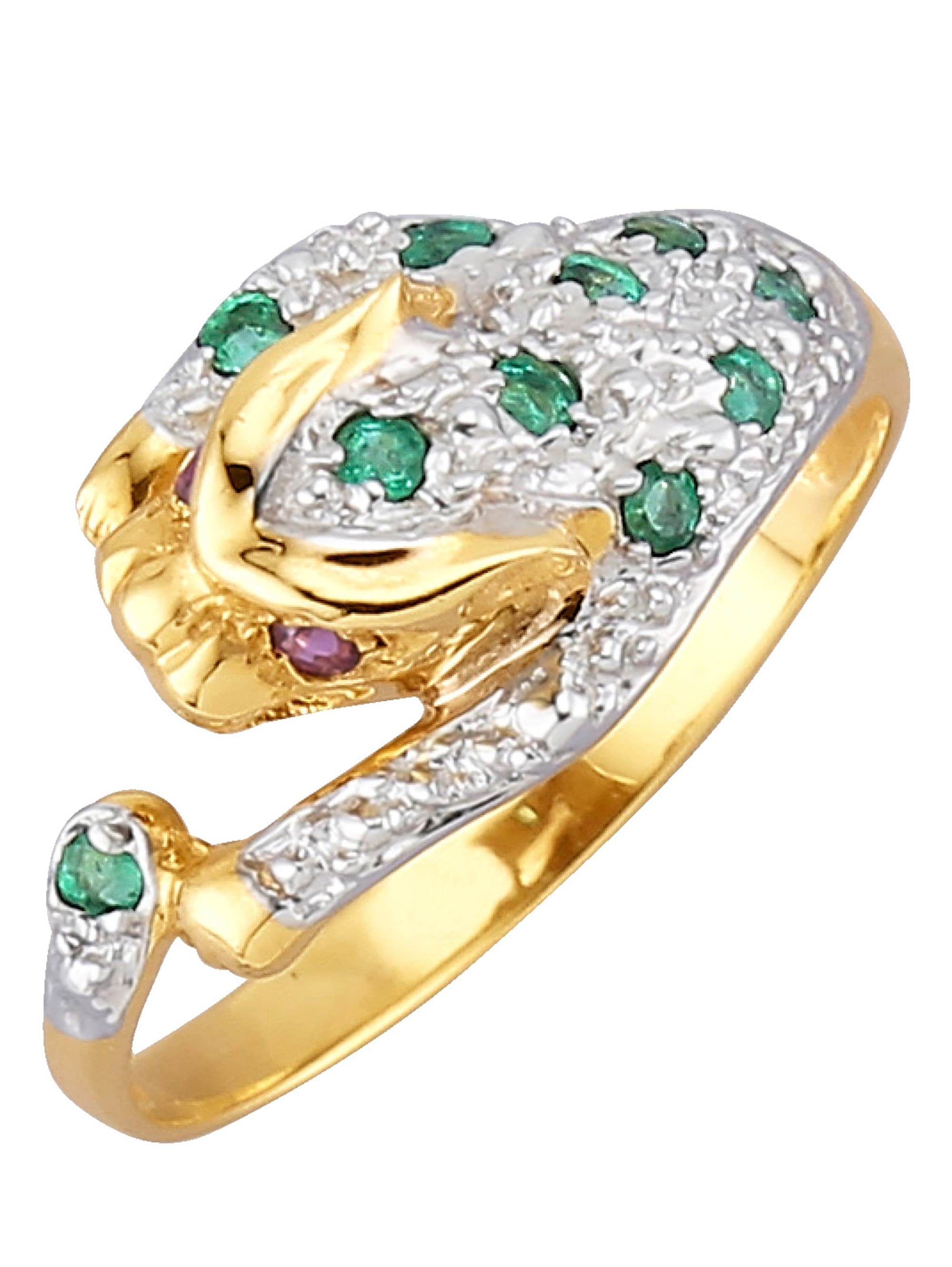 Raubkatzen-Ring mit Smaragden 5DvWJ