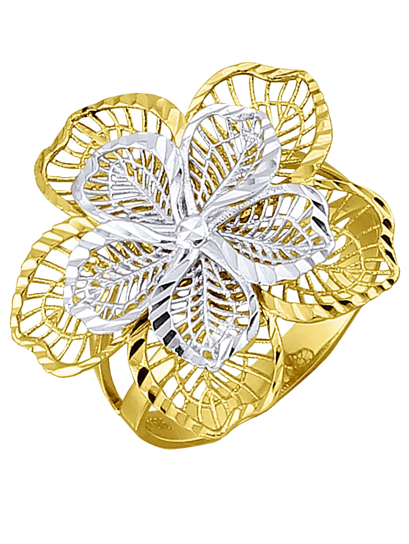 Blumen-Ring in Gelb- und Weißgold Px2hd