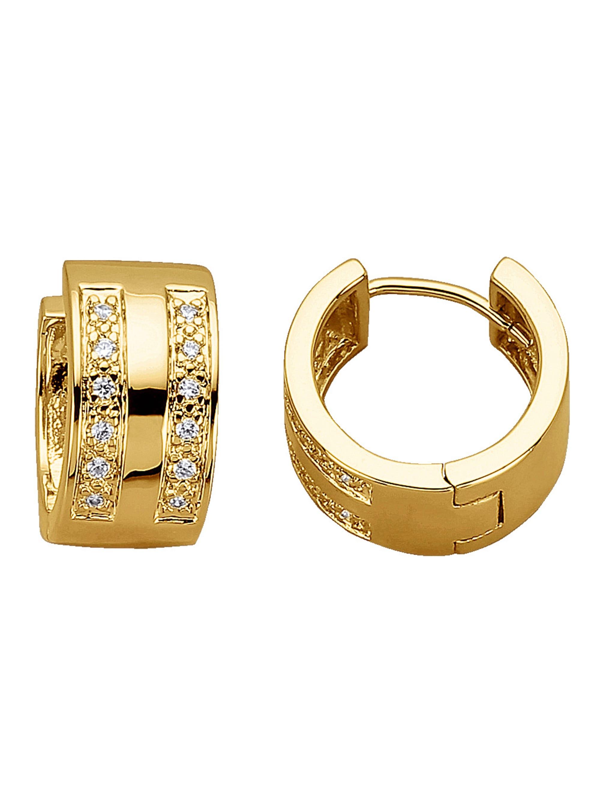 Golden Style Klappcreolen mit Zirkonia PgSi2