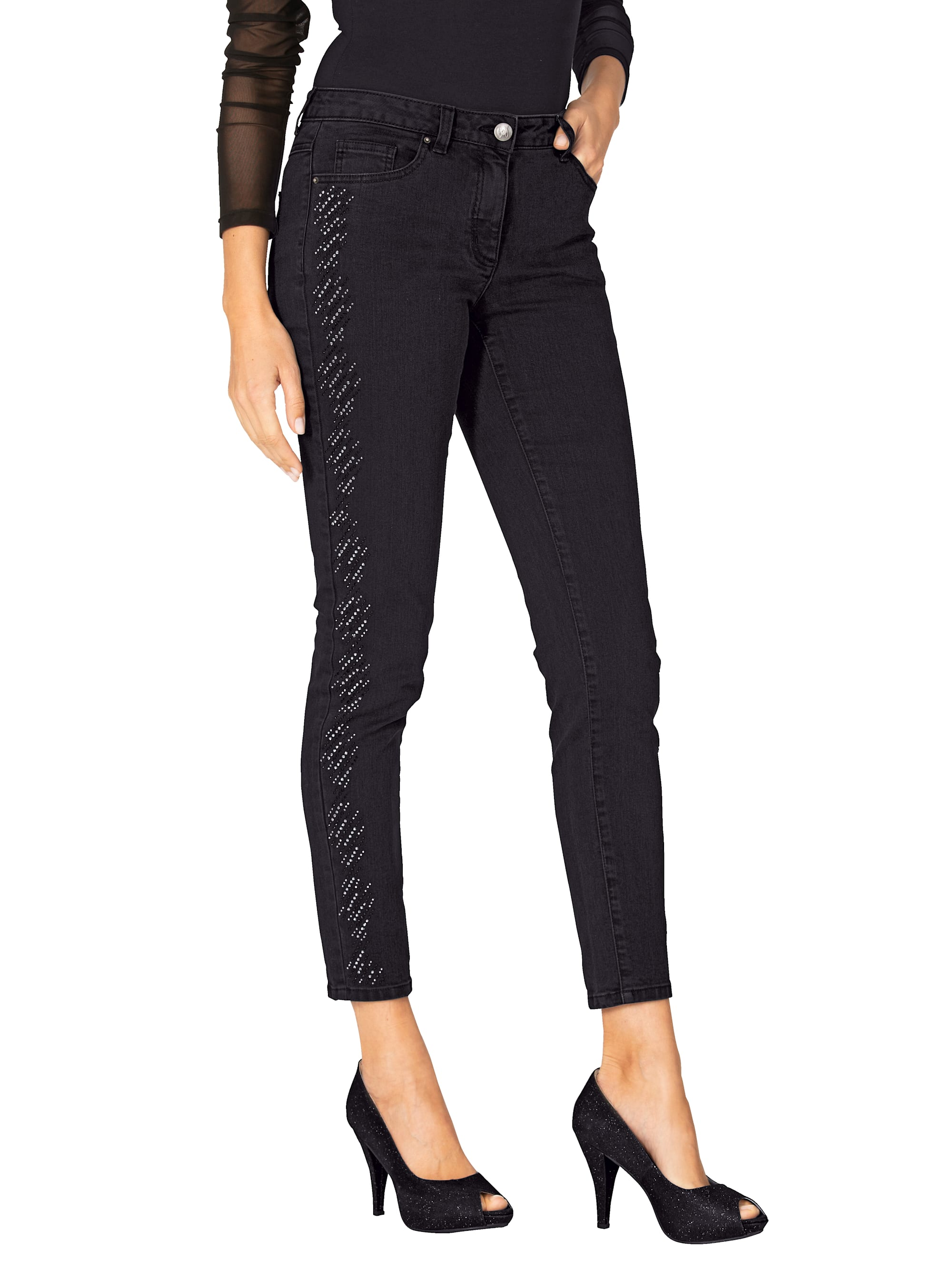 AMY VERMONT Jeans mit Strasssteindekoration W2pAQ DcSxv