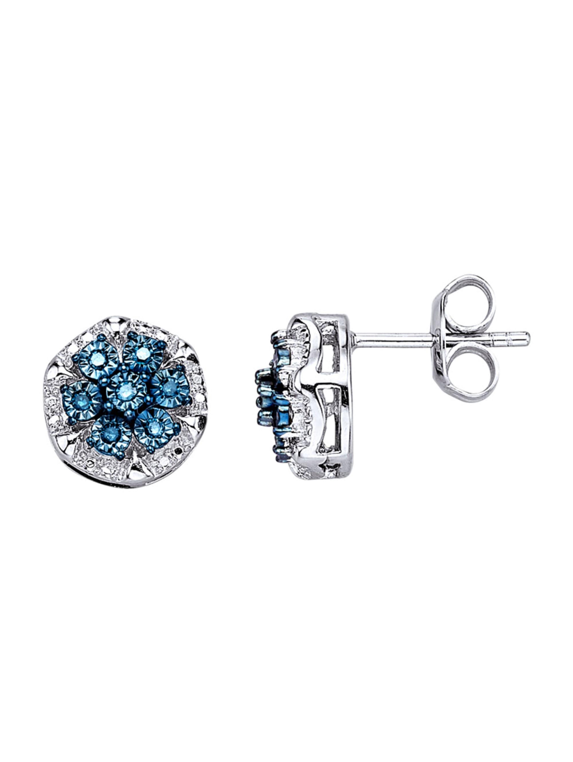 Diemer Silber Ohrstecker mit blauen Diamanten L6zsj
