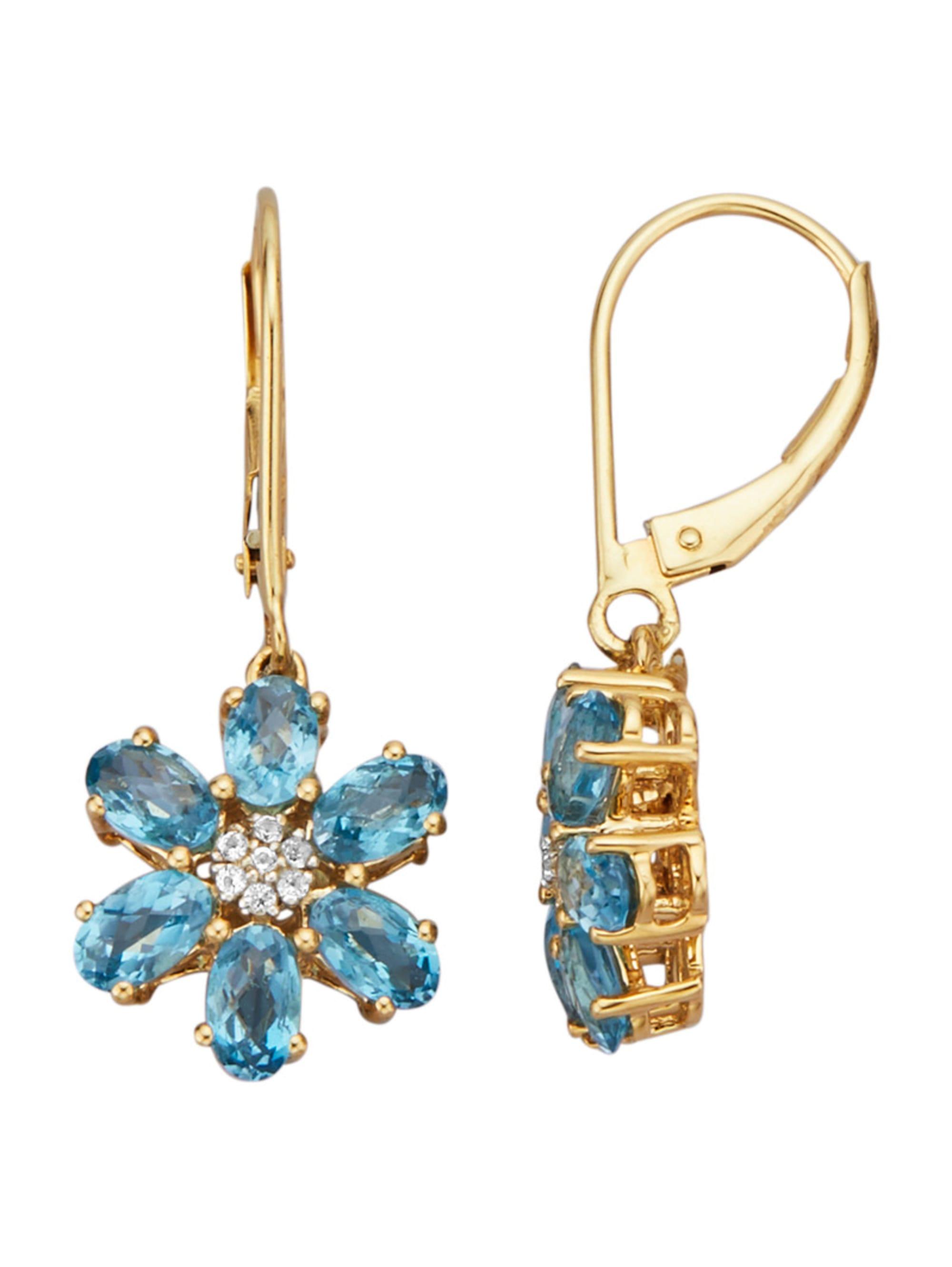 Diemer Farbstein Ohrringe mit Blautopasen JpKQd