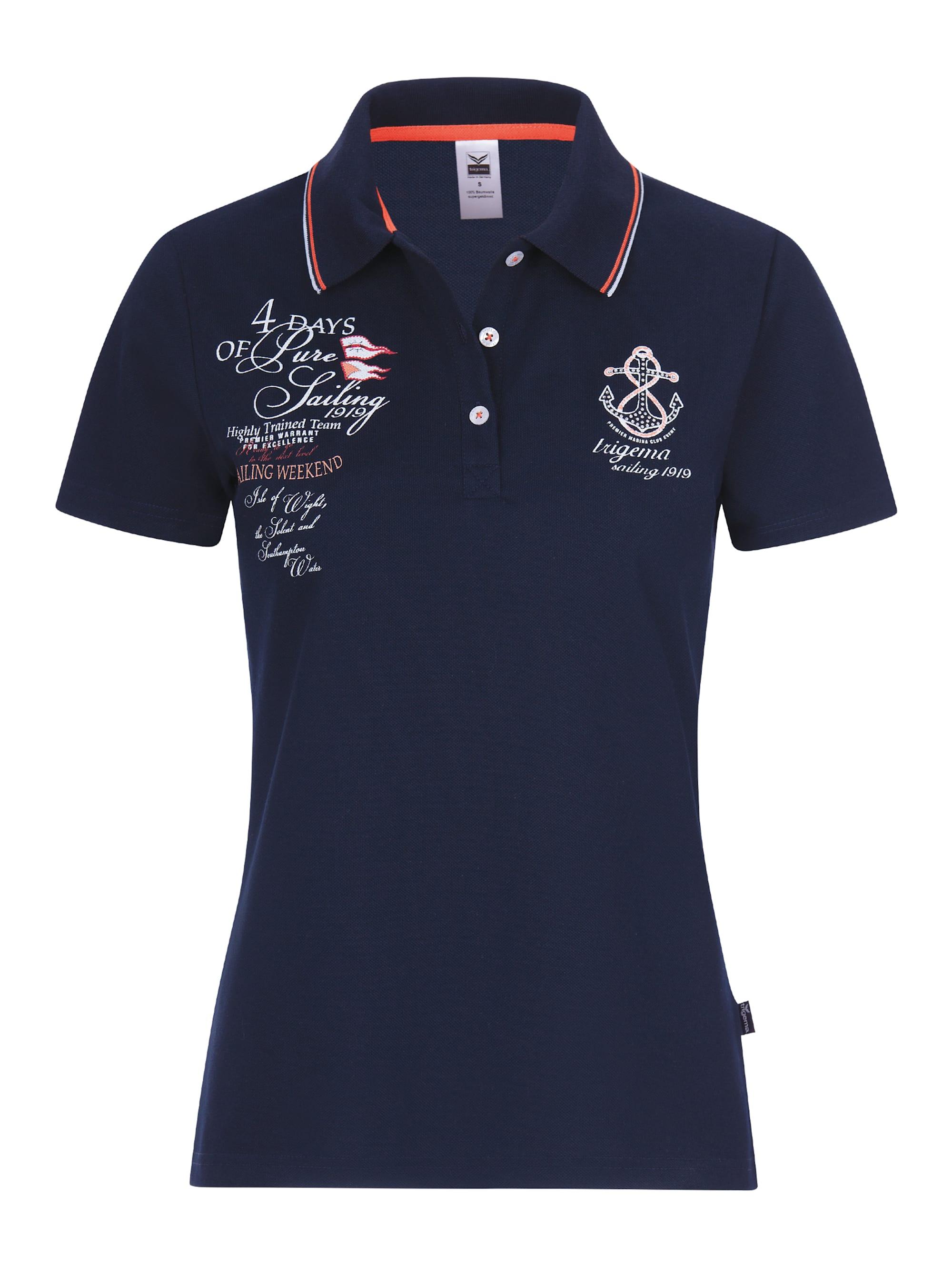 Trigema Damen Poloshirt mit Druck und Strass-Steinen kpU7z s9qNs