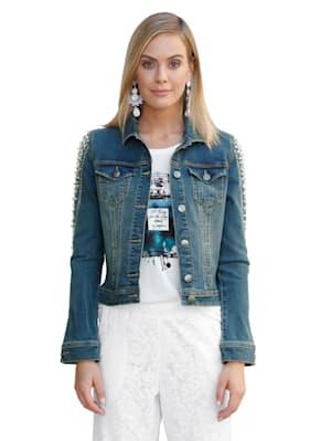 Jeansjacke mit Perlen- und Strasssteindekoration