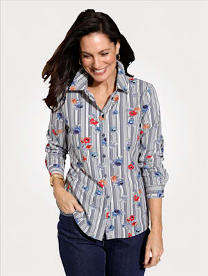 Blouse with a mixed print