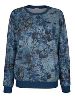 Shirt mit floralem Druck in Jeansoptik