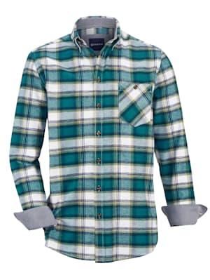 Chemise en flanelle avec col d'esprit sport à pointes boutonnées