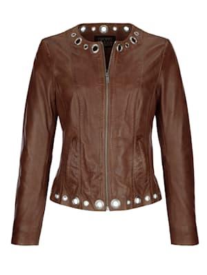 Leather jacket with embellishments