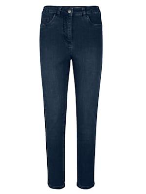 Jeans mit gestickter Bördüre an der Seite
