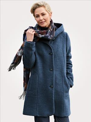 Veste en laine bouillie à capuche