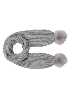 Pletený šál s kožušinkovým brmbolcom