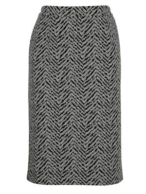 Jersey skirt in a graphic jacquard pattern
