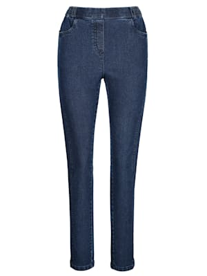 Jeans vorne mit streckender Längsnaht