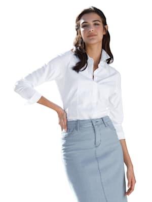 Chemisier en matière tissée devant, manches et dos en jersey extensible