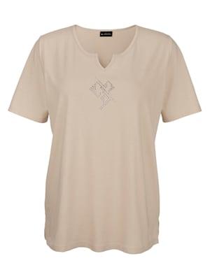 Shirt mit dekorativem Steinchenmotiv vorne