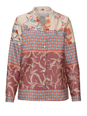 Blouse with a unique mixed print
