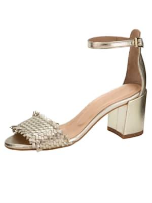 Sandales en cuir perlato brillant