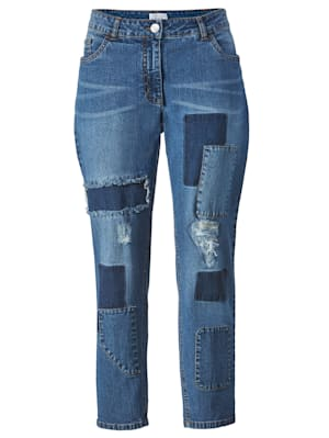 Jeans mit Patches vorne