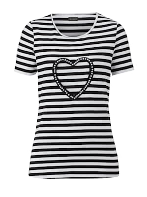 Shirt met streepdessin en kraaltjes voor