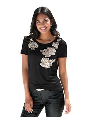 Shirt met bloemmotief van pailletten