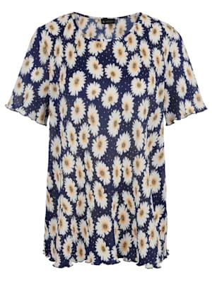 T-shirt plissé à imprimé floral
