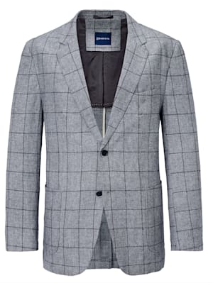 Veste de costume en lin mélangé à motif rayé tissé-teint devant et dos