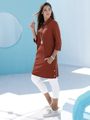 Longshirt mit dekorativen Knöpfen im Ausschnitt