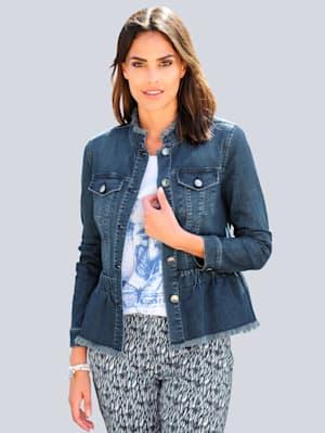 Jeansjacke mit Fransen-Kanten Verarbeitung