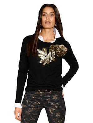 Pullover mit Pailetten und Perlen