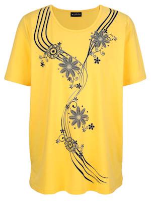 Shirt mit streckendem Blumenmotiv